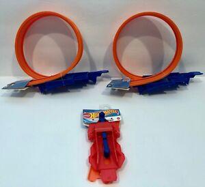 2 Hot Wheels Loop Builder Race Track with Hot Wheels Launcher 3-piece Set