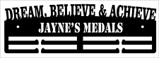 Personalised Medal Hanger Medal Holder DREAM BELIEVE AND ACHIEVE 2 TIER SPORT