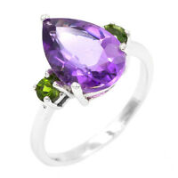 EARTH MINED 13X9MM AMETHYST CHROME DIOPSIDE RARE STERLING SILVER 925 RING SIZE 9
