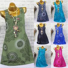Plus Size Women Boho Floral Vest Top Sleeveless Dress Party Beach Casual Blouse