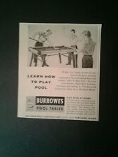 1955 Burrowes Billiard/Pool Tables Indoor Games Sporting Goods Type 2 Promo AD