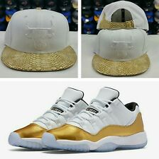 Matching New Era-Chicago Bulls Snake Skin Strapback Hat for Jordan 11 White Gold