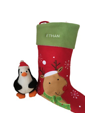 CHRISTMAS STOCKING Reindeer DECORATION With Personalised Name