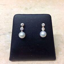9ct perle coltivate e deselezionare Orecchini pendenti con pietre incastonate.