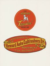 Howard Terrier Vintage Rotary Hoe and Mower Repro Decals