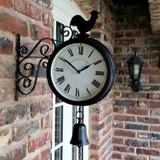 Wall Clock Double Sided Cockerel Vintage Retro Home Decor Outdoor Garden
