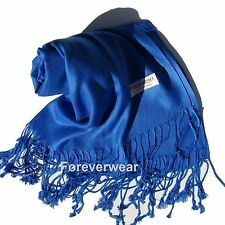 NEW Women Solid 100%Pashmina Wrap Stole Cashmere Wool Shawl/Scarf Soft Blue