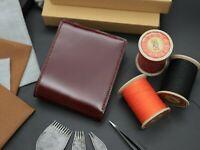 Red Brown Shell Cordovan Leather Bifold Wallet - Men Wallet