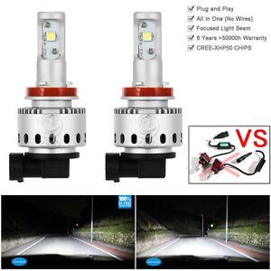 H11 H8 H16 LED Headlight Kit Bulbs 80w Pair 6000K HID Xenon White Lamps