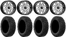 "MSA Machined Brute 20"" UTV Wheels 35"" MotoClaw Tires Honda Pioneer 1000 / Talon"