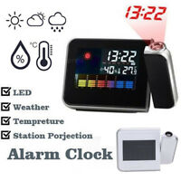 LCD Digital LED Projector Projection Alarm Clock Weather Station Calendar Snooze