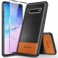 for SAMSUNG GALAXY S10 5G Case [Rugged Armor] Shockproof Leather Phone Cover