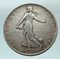 1916 FRANCE Antique Silver 2 Francs French Coin w La Semeuse Sower Woman i80797