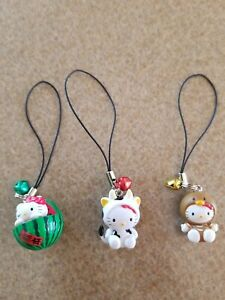 Lot of 3 Sanrio Hello Kitty Cow Watermelon Turkey Figure Cell Phone Charm w Bell