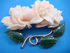 !RARE ANTIQUE CORAL FLOWERS AND JADE LEAVES 18K ROSE GOLD BROOCH/PIN, 29.8 GRAMS
