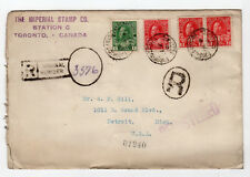 1916 Canada Philatelic Vendor Registered Cover - MR6 Coil Pair - War Tax*