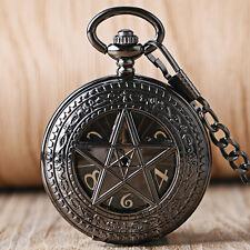 Cassical Pentagram Hollow Hand Wind Mechanical Supernatural Pocket Watch Chain