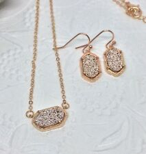Kendra Scott *Inspired* Rose Gold Colored Pink Drusy Earring And Necklace Set
