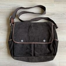 Perry Ellis Portfolio Brown Suede Laptop Messenger Bag Crossbody Large