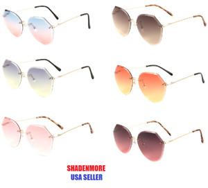 VINTAGE RETRO WOMEN Rimless Butterfly Oceanic Color Lens Sunglasses