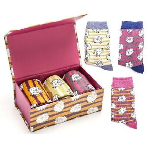Miss Sparrow Bamboo Socks Sheep Pattern - Gift Boxed - 3 Pairs - One Size