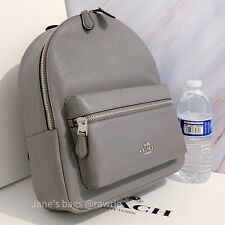 NWT COACH F30550 Pebbled Leather Medium Charlie Backpack Heather Grey $378