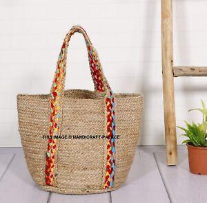 Summer Women Jute Braided Tote Hand Bag Rattan Handbag Woven Jute Bags Indian