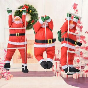 Weihnachtsmann am Seil Leiter Weihnachts Deko Weihnachten Nikolaus Rot 30cm 50cm