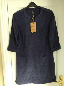 MANTARAY NAVY SKETCHY FLORAL PRINT FINE CORD TUNIC DRESS. UK 12, EUR 38-40. BNWT