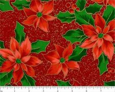 #1295 FAT QUARTER FABRIC SHOP--Christmas Metallic Poinsettia HALF-YARD