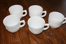 Vintage Imperial Milk Glass Punch Cups Set of 5 Grapes/Vine handles coffee cups