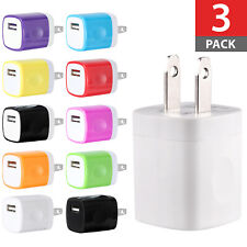 3-Pack USB Power Adapter AC Home Wall Charger US Plug For iPhone 5 6 7 8 Samsung