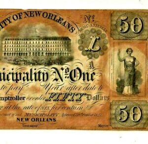 "$50 ""CITY OF NEW ORLEANS""(SUPER RARE!!!!! $50 EXTRA LARGE!! ""SUPER CRISPY""!!RARE"