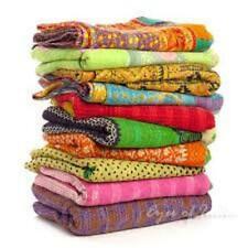 4 PC Indian Kantha Quilts Handmade Vintage Reversible Blanket Bedspread