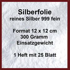 Silberfolie 12x12 cm 1 Heft =25 Blatt 300 Gramm(Blattsilber Silber Fusing )