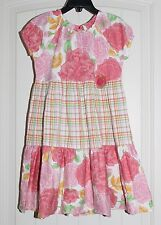 Girls B. Lulu Boutique Pink & Green Floral Casual Summer Peasant Dress size 6