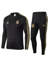 Kids Real Madrid FOOTBALL CLUB Woven Black Tracksuit Jacket Training Tracksuit