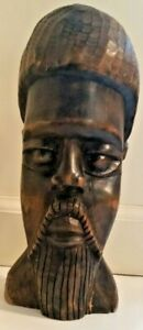 Wooden male head, carver Norman Campbell Jamaica