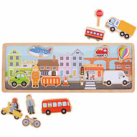 Bigjigs Toys Wooden Magnetic Picture Story Board (City) Creative Play