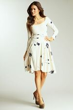 Rachel Pally USA NWT Knit Dress ivory navy party tea floral off-shoulder XS