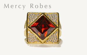 Men's Clergy Apostle Ring (Subs687G-R) Red Stone,Yellow Gold Plating, Sterling