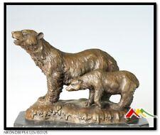 Bronze Statue two Bears. mother & baby bear Sculpture