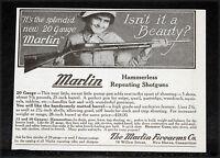 1914 OLD MAGAZINE PRINT AD, MARLIN, NEW HAMMERLESS REPEATING 20 GAUGE SHOTGUNS!