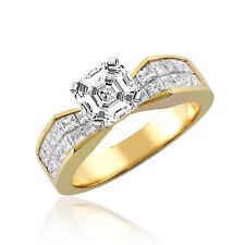 Asscher & Princess Cut 18k Gold 3.25 CT GIA Certified Diamond Engagement Ring