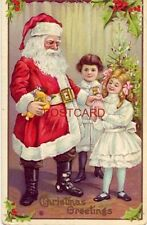 CHRISTMAS GREETINGS embossed Santa with dolls for children