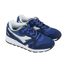 Diadora N9000 Speckled Mens Blue Suede & Nylon Athletic Running Shoes