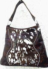 Raviani Western Distressed Leather Handbag Purse w/ Silver Acid Wash CowHide