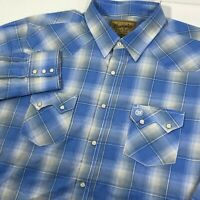 Wrangler Retro Long Sleeve Western Pearl Snap Shirt 2XL Blue Plaid Rockabilly