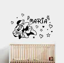 PEGATINA VINILO DECORATIVO ADHESIVO MICKEY  MINNIE NOMBRE HABITACION INFANTIL