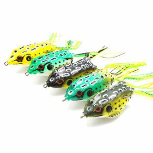 Frog Soft Lure Topwater Crankbait w/ Hooks Bass Bait~3 sizes~5 Colors~FREE Ship